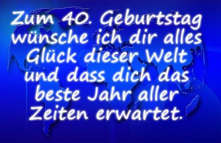 Alles Glück der Welt zum 40. Geburtstag wünschen